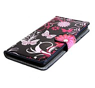 Butterflies and Flowers PU Leather Case Cover with Stand and Card Slot for Sony Xperia E3 D2203 D2206