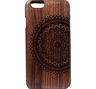 Kyuet Wooden Case Artist Made Black Walnut Laser Engraving Mandala Shell Cover Skin Cell Phone Case for iPhone 6