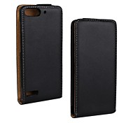 Flip-Open Solid Color Pattern Genuine Leather Full Body Case for Huawei Ascend G6 (3G) /P6 Mini