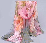 Frauen bunten Blumenmuster Schal grau Sonnenschutzchiffonschal
