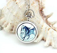 Personalized Horse Pattern Pocket Watch Silver Enamel Metal Lanyards