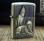 padrão personalizado lobo grava óleo de metal isqueiro de ouro