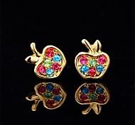 u7® 18k verdadeiro banhado a ouro pregos maçã bonito brincos esposas de basquete brincos jóias moda para as mulheres