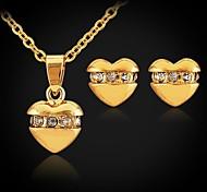 u7® lindos pequeños corazones de oro 18k plateado gargantilla pendientes collar colgante de la joyería del Rhinestone para las mujeres