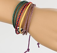 Adjustable Men's Leather Bracelet Very Cool Green Purple Yellow Rope Red And Blue Leather (1 Piece)