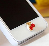1Pcs Cute Little Cherry Rhinestone 1cm Buttons Stickers for iPhone and Others(Random Color)