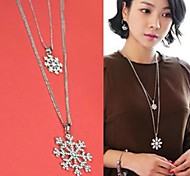 Korean Style Snowflake Double Layers Pendant Long Necklaces