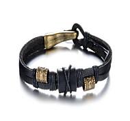 pulsera estilo de rock de cuero negro de la aleación de los hombres de moda (1 unidad)