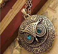 Women's Restore Ancient Ways the Owl Round Box Pendant Necklace Sweater Chain Can Be Opened