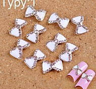 10PCS White Tie Design of 3D Alloy DIY Crystal Nail Accessories  Nail Jewelry