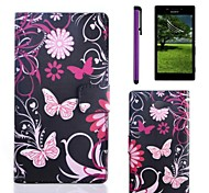 Pink Butterly Pattern PU Leather Case with Screen Protector and Stylus for Sony M2 S50h