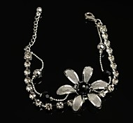 Fashion Hot Sell 30mm Flower-shaped Crystal with Rhinestone Black Silver Plated Anklet for Girls