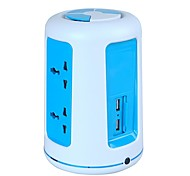 Overload Protector 5V/2.1A 2 Floor UK Adapter Power Strips with 6 Universal Outlets and 2 USB
