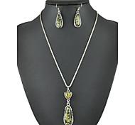 colorido simples gota âmbar colar vintage& conjunto de jóias brincos