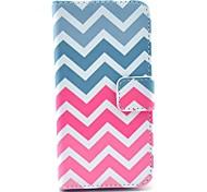 padrão de onda rosa estojo de couro pu com slot para cartão e stand para Samsung Galaxy S4 mini-i9190