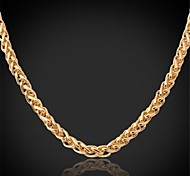U7® Twisted Link 18K Real Chunky Gold Plated 7MM 55CM Length Chain Necklace