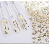 24pcs mélanger fleurs d'argent fond blanc autocollant nail art ongles décorations