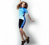 Quirell Women's Wicking Polyester Short Sleeve Cycling Suits-Blue Pink