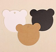 50pcs Cute Bear Kraft Paper Hang Tags Lables for Bookmark Gift Bakery Packaging Wedding Party Price Cards (More Colors)