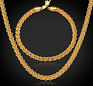 U7® Classic 18K Real Gold Plated Chunky Necklace Chains Jewelry for Men / Women Fashion Jewelry