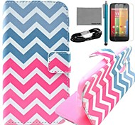 COCO FUN® Red Blue Wave Pattern PU Leather Full Body Case with Film and USB Cable and Stylus for Motorala Moto G