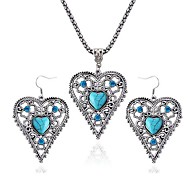 Love Sapphire Diamond Necklace Earrings Set