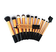 16pcs Gold Super Soft Taklon Hair Makeup Brush Basic Professional Kit