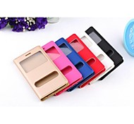 PU Leather And Plastic Smooth Pure Color Open The Window Protection Shell for iPhone 6 (Assorted Colors)