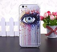 Abstract Colorful Eye Pattern Transparent TPU Soft Case for iPhone 6