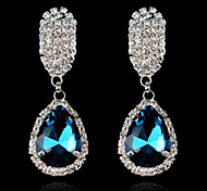 Fashion Elegant Sapphire Blue Water Droplets Rhinestone Earrings With Crystal Earrings(Blue Green White)(1 pair)