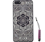 Black And White Flowers Face Pattern Hard Case & Touch Pen for iPhone 4/4S
