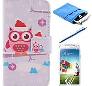 Cartoon Owls PU Leather Full Body Case with Stylus and Protective Film and Soft Pouch for Samsung Galaxy S4 I9500