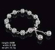 Fashion Sterling Silver Plated Cut-Out Ball Dangle Women's Bracelet
