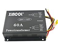 xincol® автомобиль автомобиль DC 24В 12В 60а питания трансформатора преобразователя с двумя вентиляторами регулирование-черный