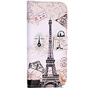 Eiffel Tower and Map Pattern Cross Texture Wallet Style Stand TPU+PU Leather Cover for iPhone 6