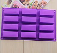 12 hoyos moldes de chocolate pastel de forma rectangular jalea de hielo, silicona 29.5 × 17 × 3 cm (11.7 × 6.7 × 1.2 pulgadas)