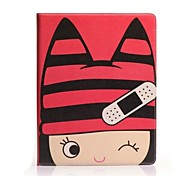 Fashion Painted Cartoon Hat Girl PU Full Body Case with Stand for iPad mini