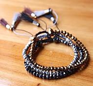 Fashion Hand Woven Crystal Multilayer Tassel Bracelets Random Color
