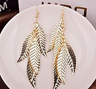 High Quality Delicate Leaf Shape Alloy Drop Earrings(Golden,Silver)(1 Pair)
