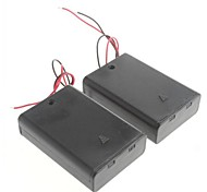 3 Packs Standard Battery Box Slot Holder Case for AA 2A Batteries Stack 6V (2pcs)