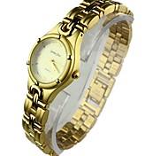 mini reloj pulsera analógico de la mujer ronda de aleación de línea de cuarzo banda