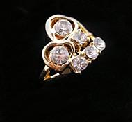 Golden Zircon Heart Ring