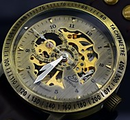 Men's Auto-Mechanical Skeleton Watch Vintage Self Wind Hollow Engraving Leather Military Wrist Watch (Assorted Colors)