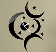 "18""H Modern Style Black Moon Stars 3D DIY Acrylic Mirror Wall Clock Home Decoration"