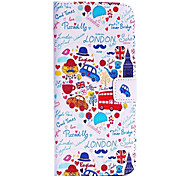 Cartoon London Features Pattern Cross Texture Wallet Style Stand TPU+PU Leather Case for iPhone 6 Plus