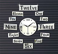 """22""""H Number Style Unique Shape Squares Mirror Home Decoration 3D DIY Acrylic Mirror Wall Clock"""