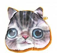 padrão lindo gato bolsa de moedas mudança de pelúcia bolsa das mulheres - cinza + amarelo