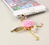 rose avec prise anti-poussière feuilles de 3,5 mm pour iPhone 5 et d'autres (couleurs assorties)
