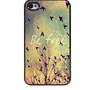 Be Free Pattern Aluminum Hard Case for iPhone 4/4S