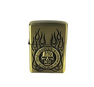 Skull & Flames Pattern Retro Style Oil Light - Bronze